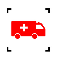 ambulance sign red icon vector image