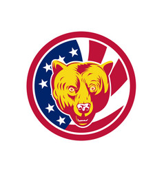 American brown bear usa flag icon vector