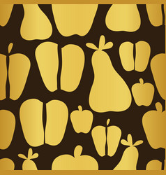 apple and pears gold on brown background seamless vector image