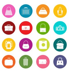 bag baggage suitcase icons many colors set vector image