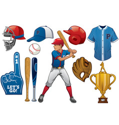 baseball elements in set vector image