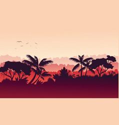 Beauty landscape jungle silhouette style vector