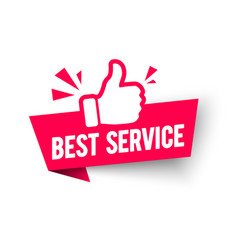 best service label modern web banner thumbs up vector image