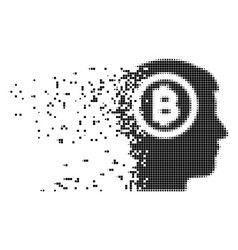 Bitcoin thinking head dispersed pixel icon vector