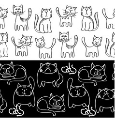 Black and white doodle cats seamless borders vector