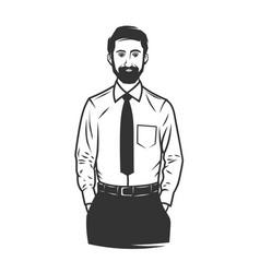 black and white stylish man logo vector image