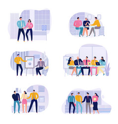 business meeting icons set vector image
