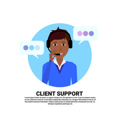 call center headset agent african woman client vector image