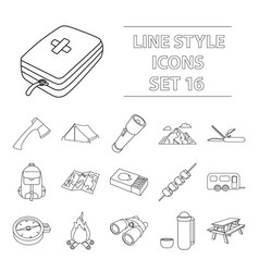 camping set icons in outline style big collection vector image