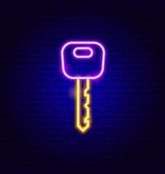 car key neon sign vector image