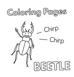cartoon beetle coloring book vector image