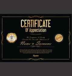 Certificate retro design template 11 vector