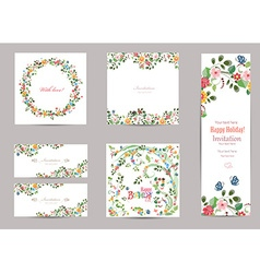 Collection of greeting cards with cute flora for vector