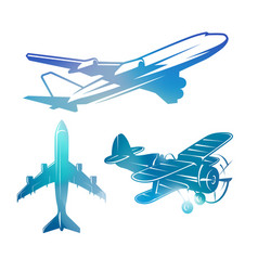 color airplane symbols logotypes aviation vector image