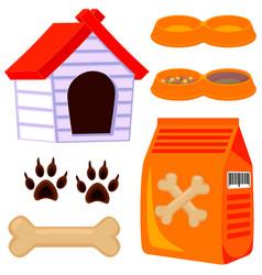 Colorful cartoon dog pet care icon set vector