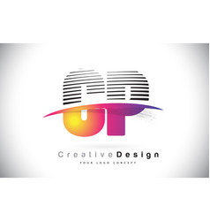 cp c p letter logo design with creative lines and vector image