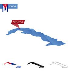 Cuba blue low poly map with capital havana vector