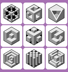 Cube icon set 6 vector