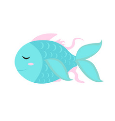 cute little fish icon flat cartoon style vector image