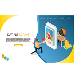 dating scams landing page website template vector image