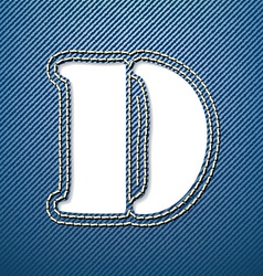 Denim jeans letter D vector