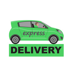 express delivery sign with green delivery car vector image