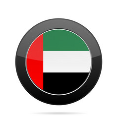 Flag of united arab emirates black round button vector