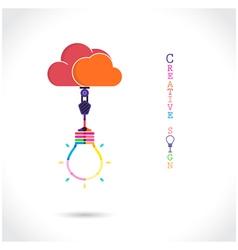 Flat cloud and creative light bulb sign vector