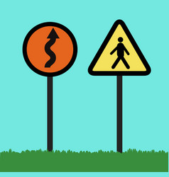 Flat traffic signs vector