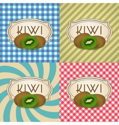 Four types of retro textured labels for kiwi vector
