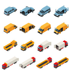Freight transportation vehicles collection vector