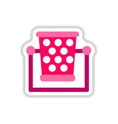 Garbage bin in paper sticker style vector