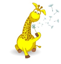 Giraffe with a dandelion vector image