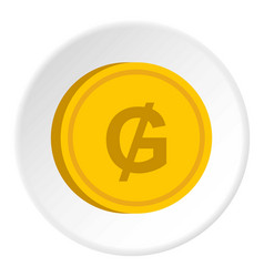 gold coin with guarani sign icon circle vector image