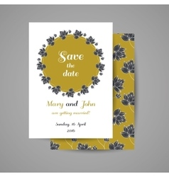 Golden Wedding Invitation With Black Flowers vector