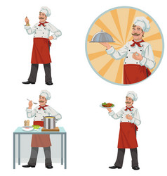 good smiling chefset of four vector image