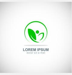 green leaf beauty organic logo vector image