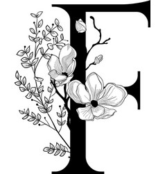 Hand drawn floral f monogram and logo vector