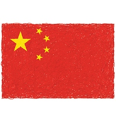 Hand drawn of flag of China in white background vector
