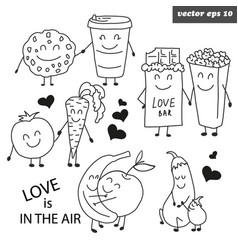 hand drawn outlined set of funny fruits vector image