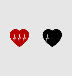 Heartbeat life or dead red and black heart with vector