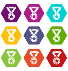 hockey champion medal icons set 9 vector image