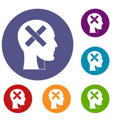 Human head with cross inside icons set vector