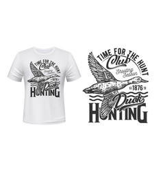 hunting club t-shirt print with duck bird vector image