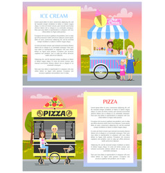 ice cream and pizza shops in summer park banner vector image