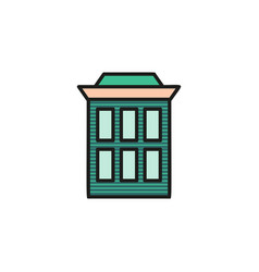 Isolated brown turquoise low-rise municipal house vector