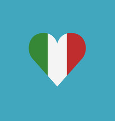 italy flag icon in a heart shape in flat design vector image