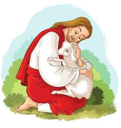 Jesus holding lamb good shepherd vector