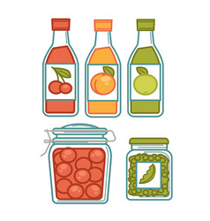 Juice in bottles and preserves in jars poster vector