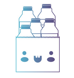 kawaii paper bag with milk bottles in degraded vector image